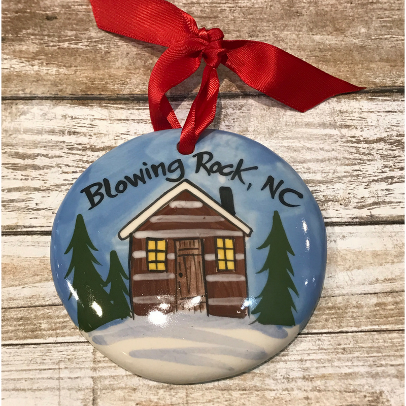 Blowing Rock Cabin Flat Ornament