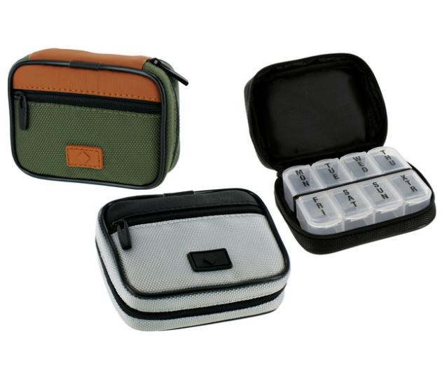 Men's Zippered Pill and Vitamin Travel Case