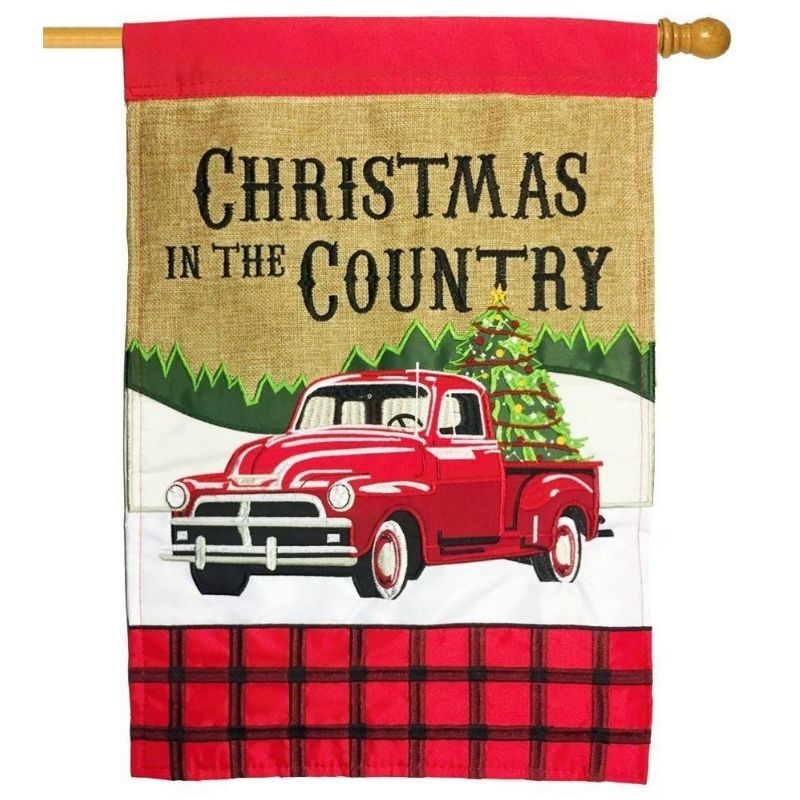 Country Christmas House Flag