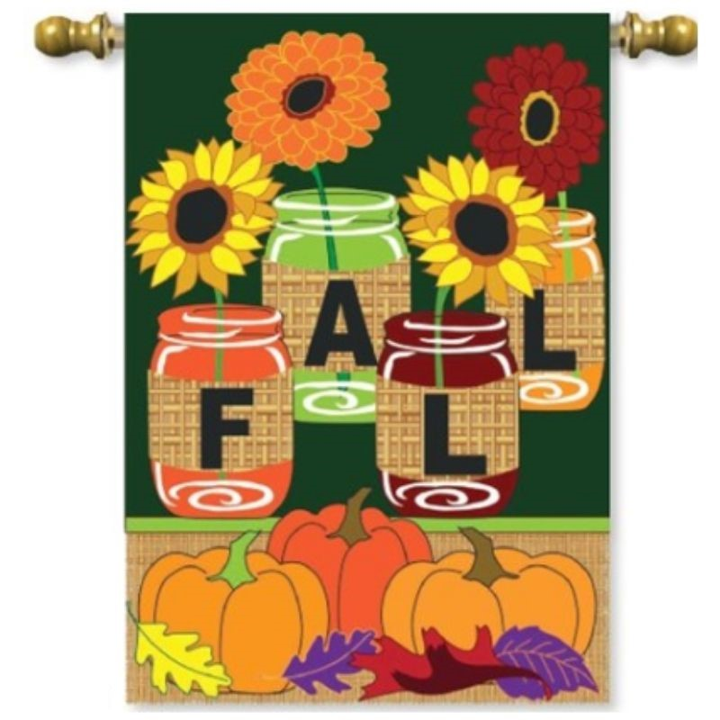 Fall Mason Jars House Flag