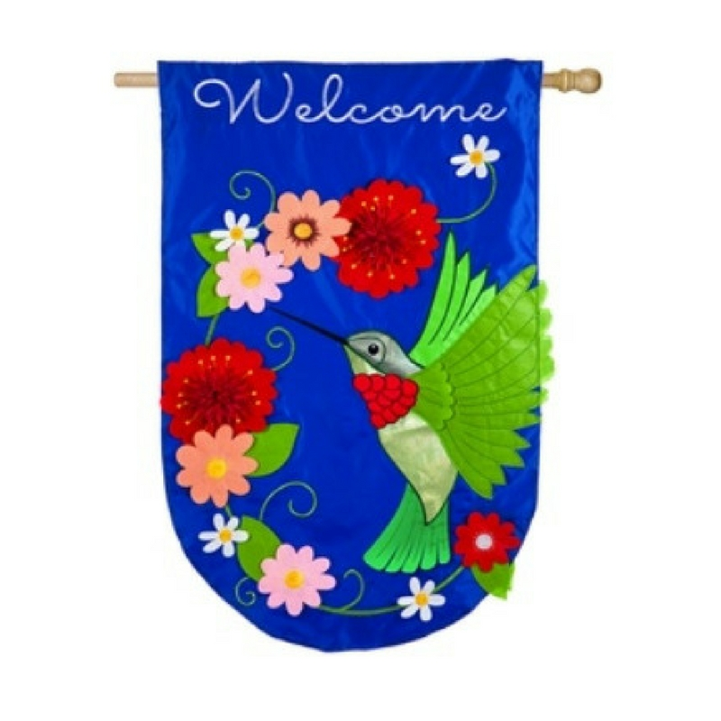 Applique Hummingbird House Flag