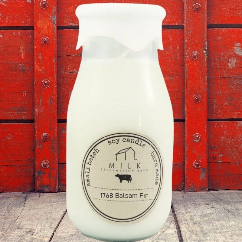 1768 Balsam Fir Milk Bottle Candle