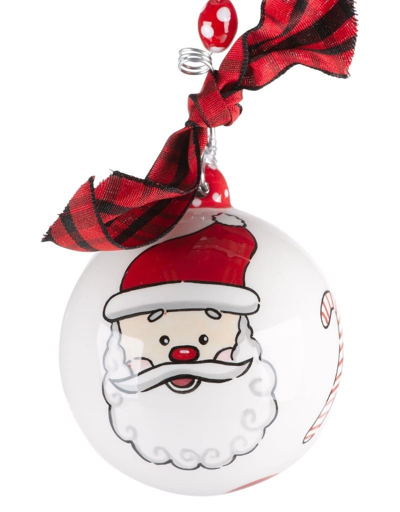 Peppermint Santa Ornament