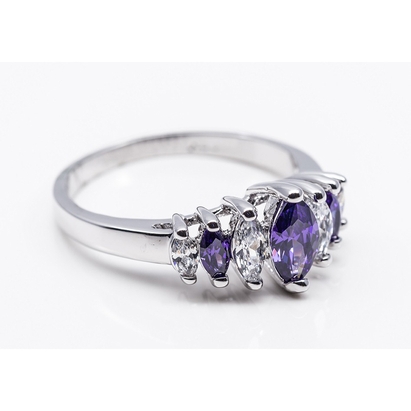 Purple & Clear Marquis Cut Stones Ring