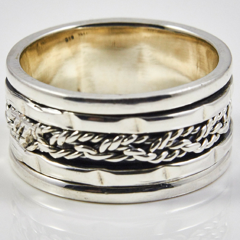 Wide Braided Spinner Ring