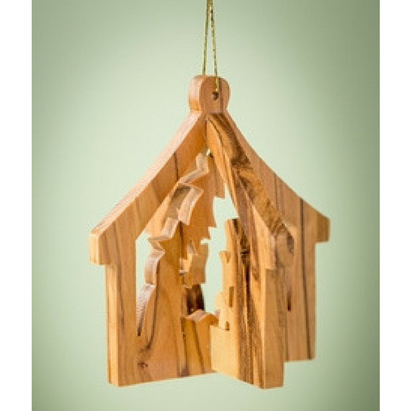 3D Stable w/ Nativity Ornament