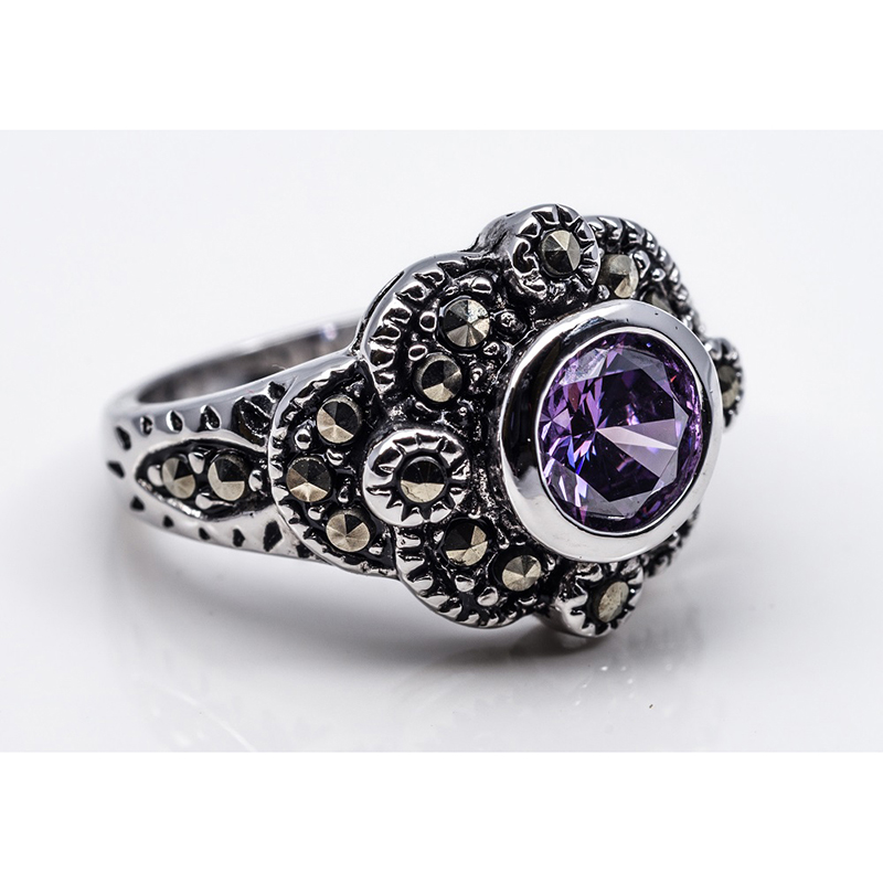 Marcasite Purple Stone Fashion Ring
