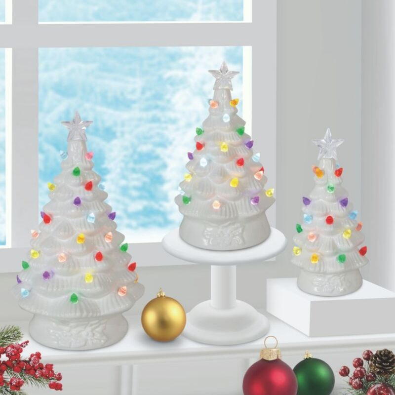 White Trio Ceramic Tree Set