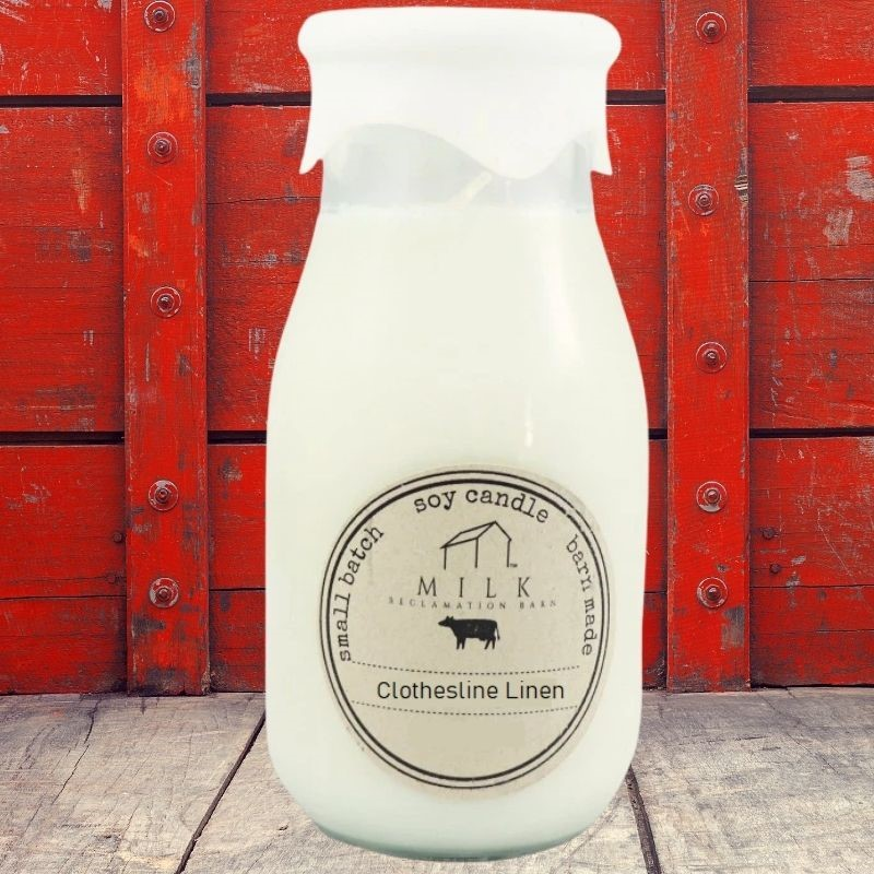 Clothesline Linen Milk Bottle Candle