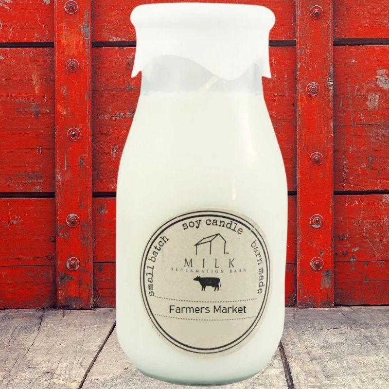 Farmers Market Milk Bottle Candle