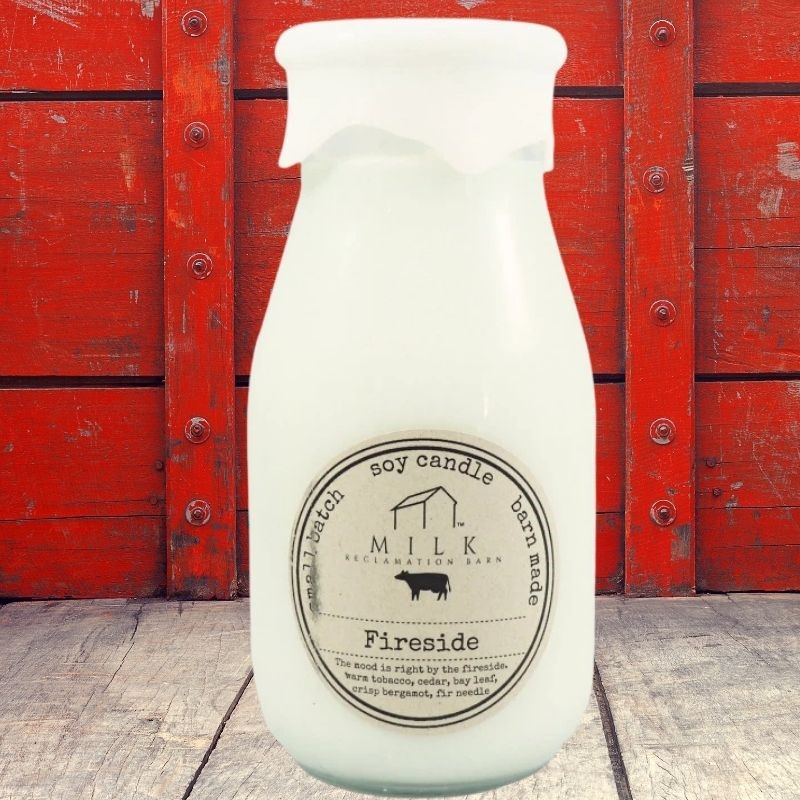 Fireside Milk Bottle Candle