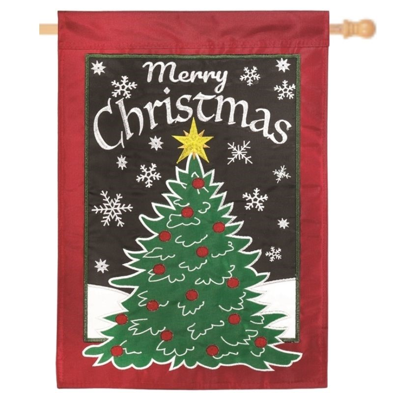 Christmas Tree with Snowflakes House Flag