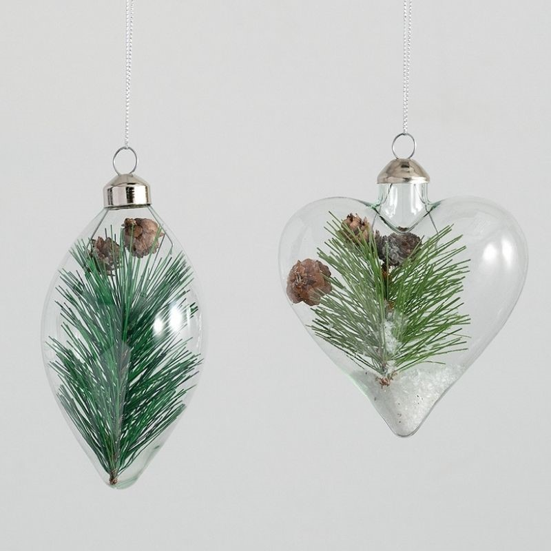 Glass Pine Ornaments
