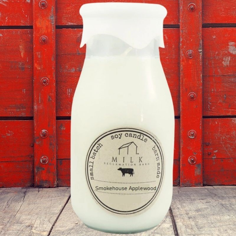 Smokehouse Applewood Milk Bottle Candle