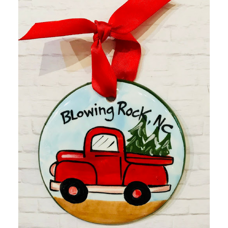 Blowing Rock Red Truck Ornament