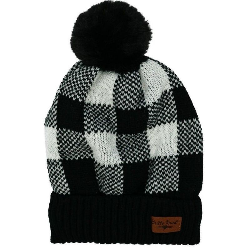 Black Buffalo Plaid Beanie