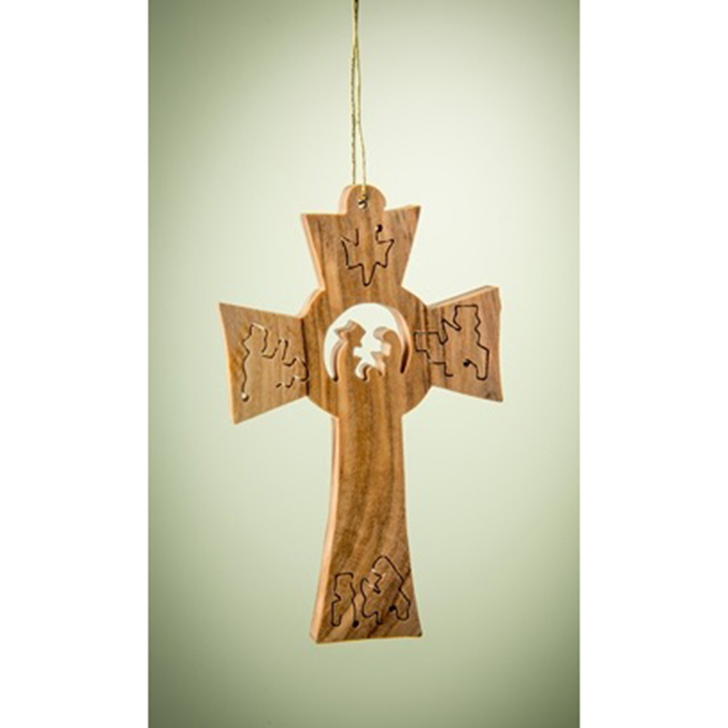 Cross with Complete Nativity Scene