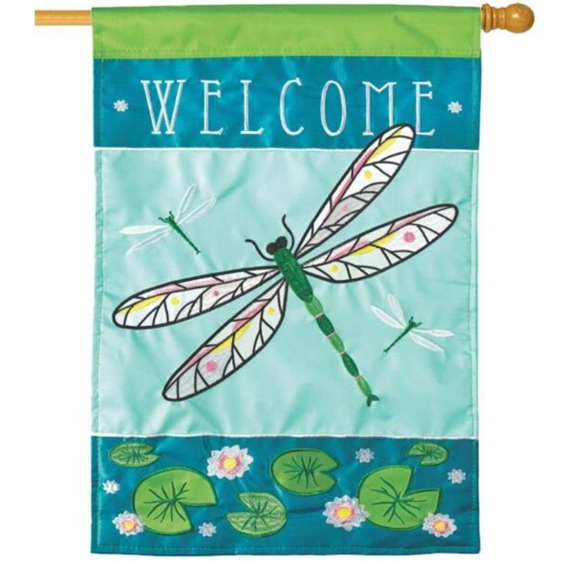 Dragonfly Welcome House Flag