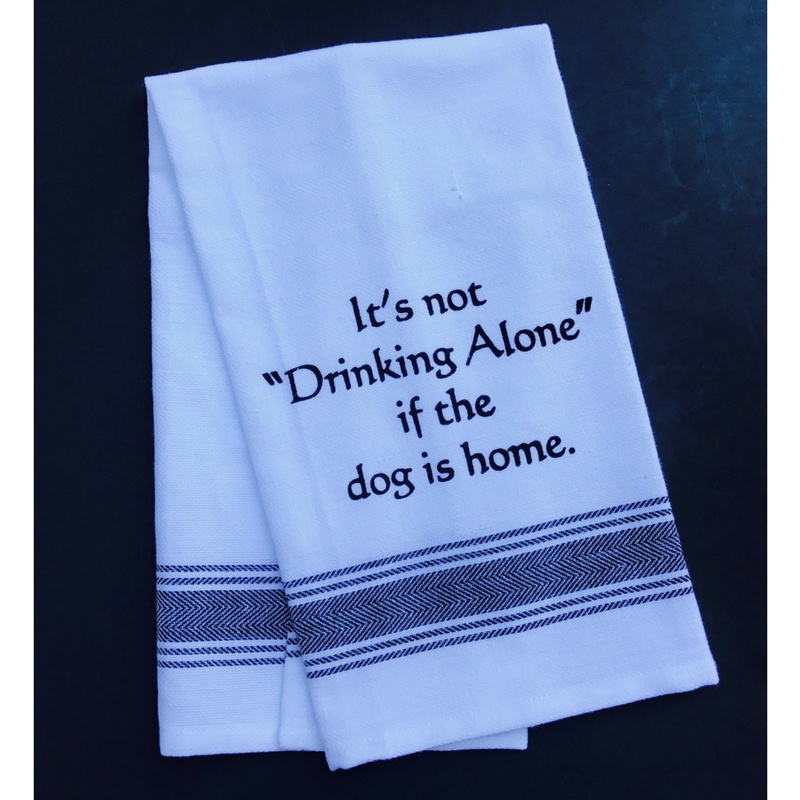 Drinking with Dog Tea Towel