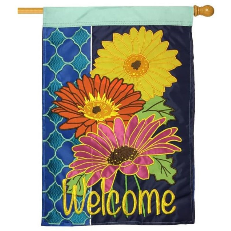Gerber Daisies Welcome Flag