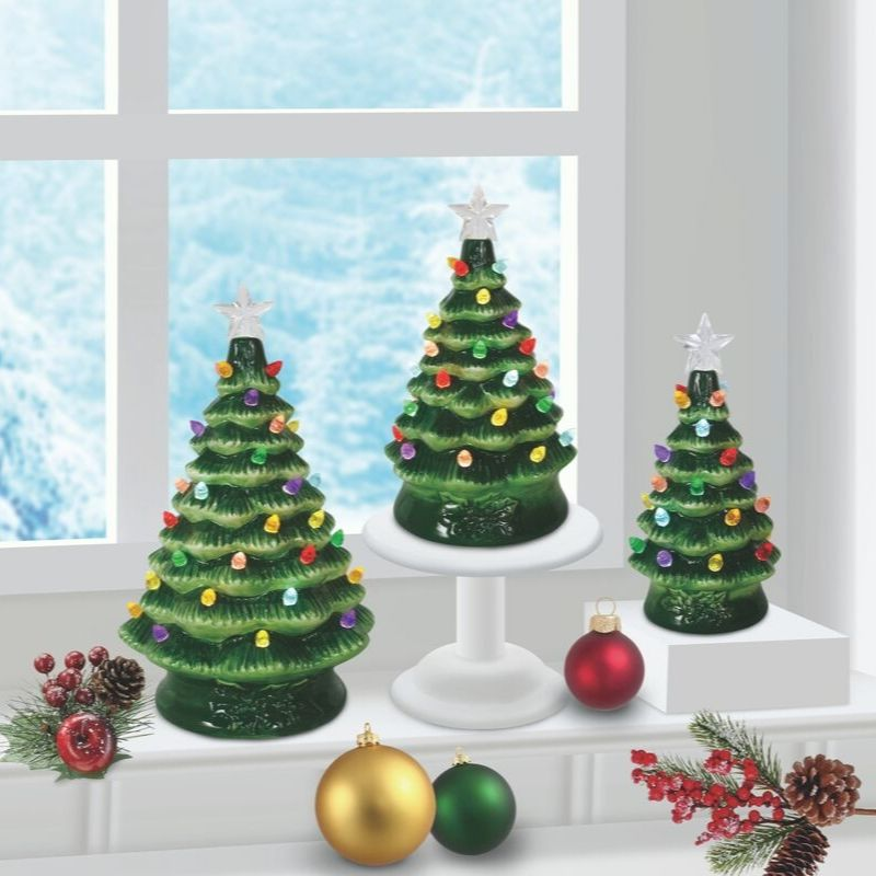 Green Trio Ceramic Tree Set