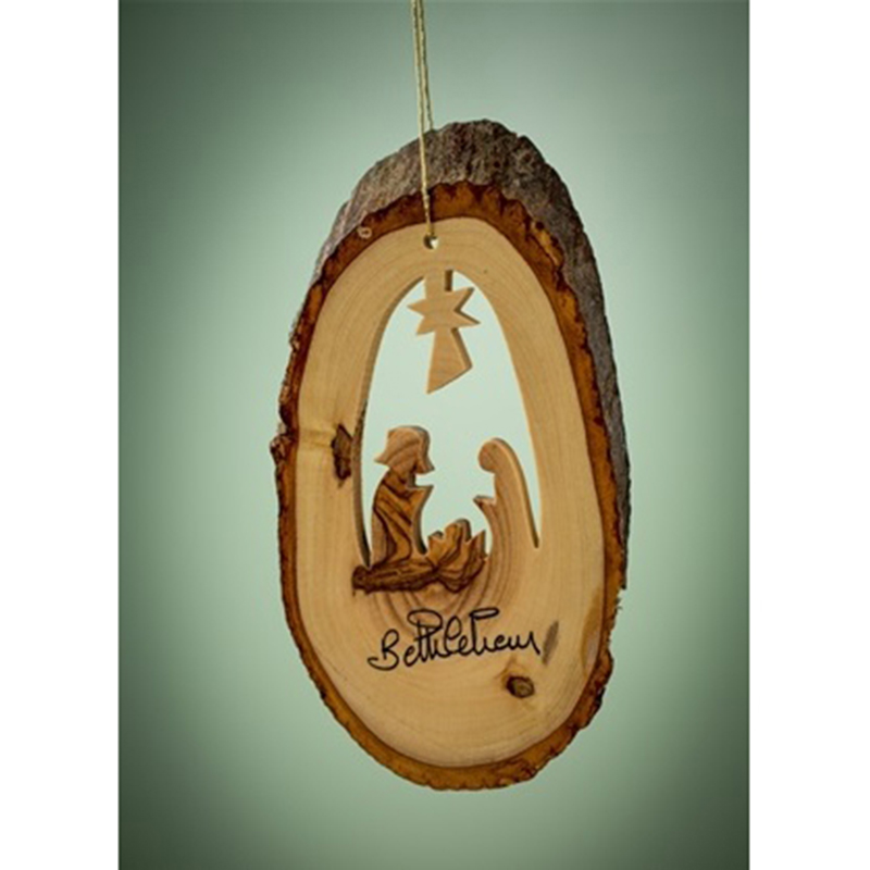 Bark Slice w/ Nativity Ornament