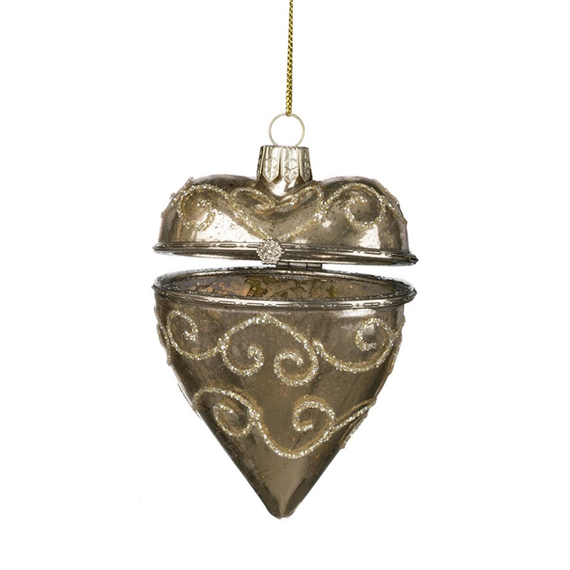 Gold Heart Box Ornament