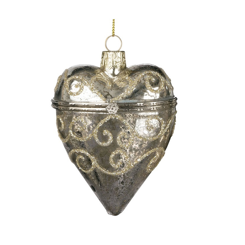 Silver Heart Box Ornament