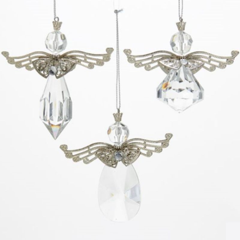 Angels w/ Metal Wings Ornaments