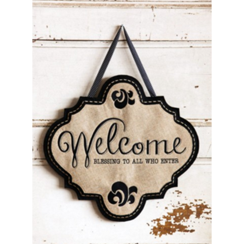 Welcome Blessings Burlap Door Décor